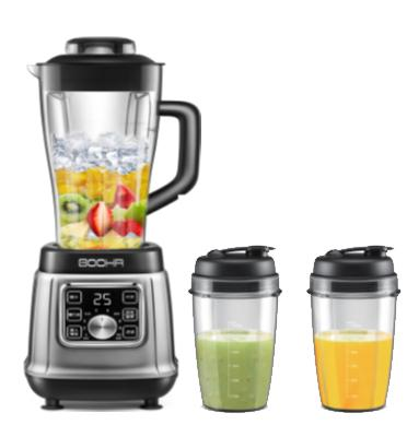 בלנדר מקצועי דיגיטלי  צבע אפור מטאלי כולל 2 כוסות בלנדר TO GO מבית BOOHR דגם P2