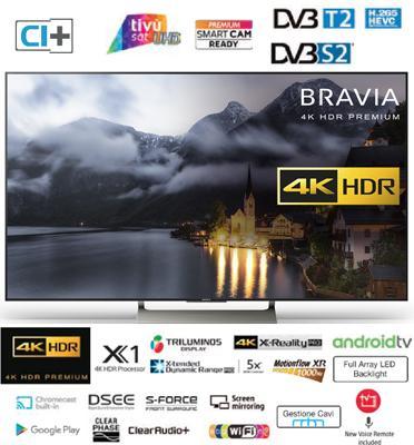 """טלויזיה """"75 4K HDR Premium Android TV תמיכה בהתקני בלוטות ניידים מבית Sony. דגם KD-75XE9005BAEP"""