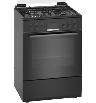 תנור אפיה משולב כיריים גז תא בנפח 66 ליטר בעיצוב שחור תוצרת SIEMENS דגם HXR39IH60Y