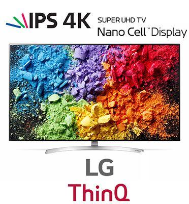 טלוויזיית 75 אינץ' LED חכמה Smart TV ברזולוציית 4K Ultra HD ופאנל IPS מבית LG. דגם 75SK8100P