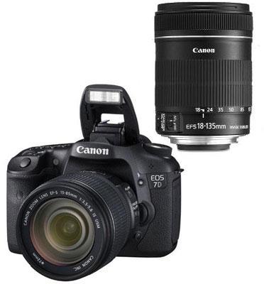 """מצלמה 18MP DSLR+ וידאו FULL HD תוצרת Canon דגם EOS 7D + עדשה 18-135IS מ""""מ"""