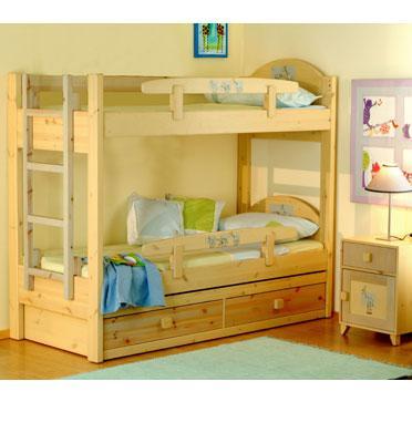 מיטת קומתיים מעץ אורן מלא עם מיטה נשלפת מבית גלמר עיצוב דגם מיכל