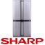 מקרר 4 דלתות בנפח 613 ליטר דמוי נירוסטה תוצרת SHARP קירור היברידי דגם SJX7413
