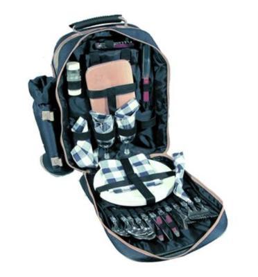 תיק גב המכיל ערכת פיקניק יוקרתית ל 4 סועדים