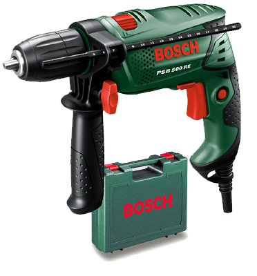 מקדחה רוטטת 650 וואט BOSCH מסדרת קומפקט דגם PSB650RE - CT במזוודה קשיחה