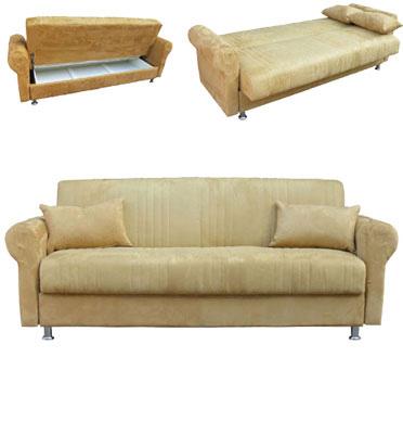 ספת תלת מושבית נפתחת למיטה גדולה כוללת ארגז מצעים ומרופדת בבד סוויד מבית Or Design דגם סידני + מתנה