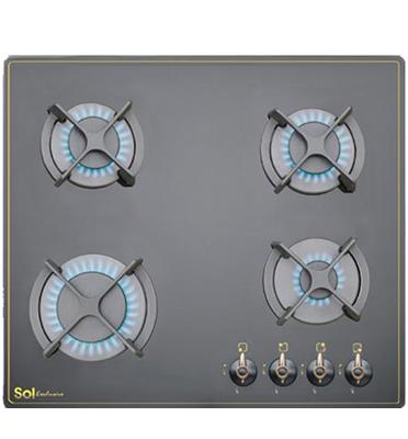 מערכת כיריים בעלת 4 מבערים זכוכית שחורה מבית sol דגם כפרי FQ6TG112