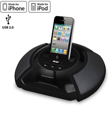 תחנת עגינה ניידת ונטענת ל IPHONE חיבורי USB SD AUX מבית pure acoustics דגם ds1600