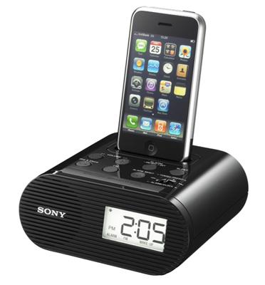 רדיו שעון מעורר כולל תחנת עגינה לאייפון תוצרת SONY דגם ICF-C05IP
