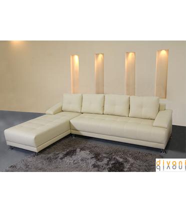 """מערכת ישיבה פינתית מדמוי עור איכותי מסוג """"טופ לדר"""" מבית Vitorio Divani דגם מידס"""