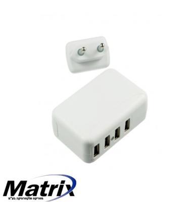 מטען קיר USB עם 4 יציאות