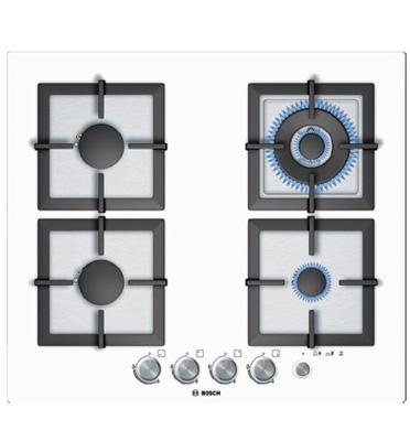 """כיריים גז ברוחב 60 ס""""מ משטח זכוכית מחוסמת לבנה תוצרת בוש דגם PPH612M21Y"""