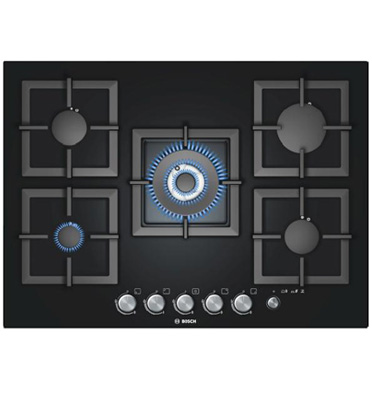 """כיריים גז 5 להבות ברוחב 70 ס""""מ משטח זכוכית מחוסמת שחורה תוצרת בוש דגם PPQ716M21Y"""