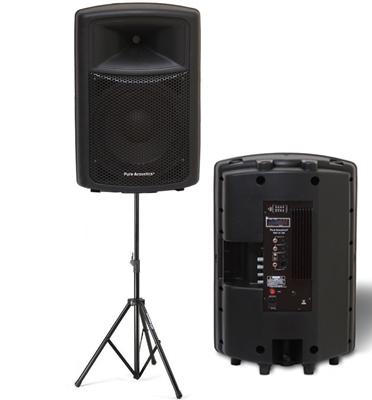 """רמקול מקצועי מוגבר ועוצמתי 15"""" 250W חיבורי USB AUX SD תוצרת pure acoustics דגם psx15"""
