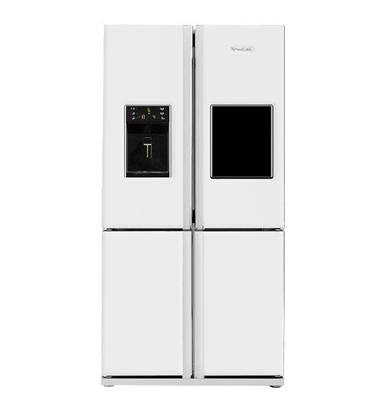 מקרר 4 דלתות עם מיני בר וקיוסק תוצרת Blomberg. צבע לבן דגם KQD1361W