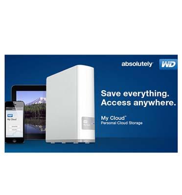 """כונן my cloud בנפח 2TB בחיבור חשמל לראוטר 3.5"""" עם חיבור USB 3.0 תוצרת WD דגם WDBCTL0020HWT"""