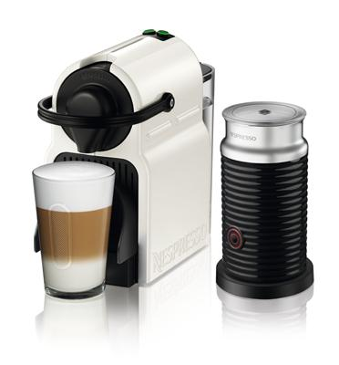 מכונת קפה Nespresso איניסייה בצבע לבן דגם C40 כולל מקציף חלב אירוצ'ינו