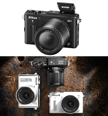 """מצלמה ללא מראה אקסטרים 14.2MP מסך 3"""" מעבד EXPEED 3A תוצרת Nikon דגם Nikon 1 AW1"""