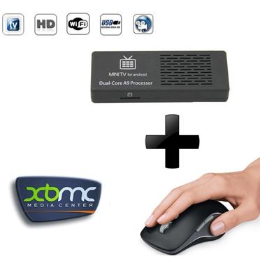 מתאם לטלויזיה חכמה SMART TV +עכבר אלחוטי מתנה תוצרת GRANDTECH דגם MK808