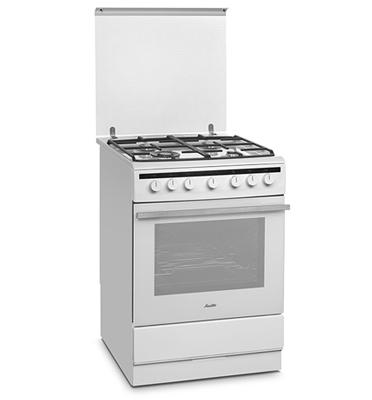 תנור אפיה משולב כיריים 4 להבות צבע לבן תוצרת SAUTER. דגם SAF86W