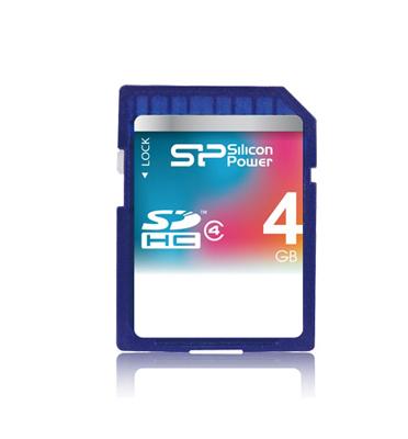כרטיס זכרון SD 4GB Class 4 מבית SILICON POWER אחריות לכל החיים