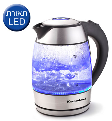 כד חשמלי זכוכית LED  1.8 ליטר תוצרת KITCHENCHEF דגם 5230