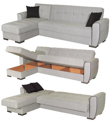 ספה פינתית נפתחת למיטה עם ארגזי מצעים בריפוד בד מבית רהיטי דפנה דגם אלון