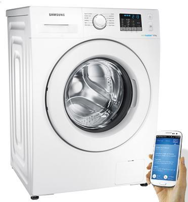"""מכונת כביסה פתח חזית 9 ק""""ג 1,200 סל""""ד Eco Bubble תוצרת Samsung דגם WF90F5E0W2W"""