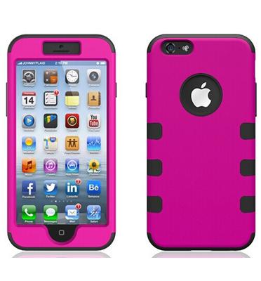 כיסוי מגן פלסטיק קשיח משולב סיליקון תואם I Phone 6 מבית QUE דגם I6-6