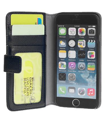 כיסוי מגן קשיח דמוי עור כולל תאי איחסון תואם I Phone 6 מבית QUE דגם IP6-12
