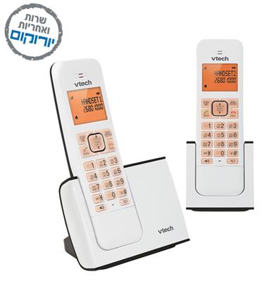 טלפון אלחוטי דיגיטלי בעברית עם שלוחה נוספת תוצרת VTECH דגם FS 6515A-2