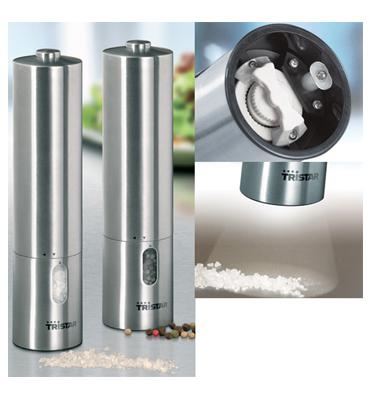 סט מטחנות מלח\פלפל חשמליות נירוסטה תוצרת Tristar דגם PM4005