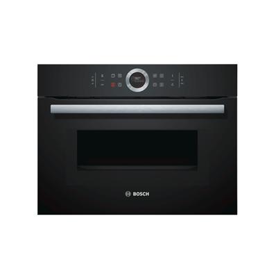 """תנור קומפקטי משולב מיקרוגל גובה 45 ס""""מ בצבע שחור מסדרה 8 תוצרת בוש דגם CMG633BB1"""