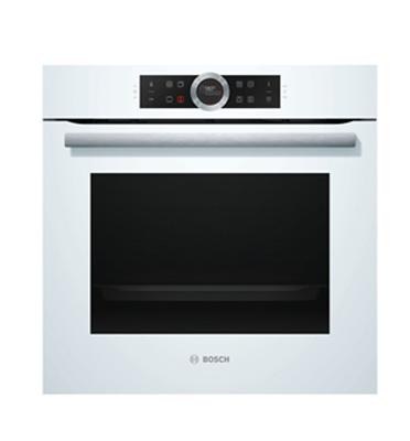 תנור בנוי פירוליטי 13 תכניות סגירת ופתיחת דלת רכה בצבע לבן מסדרה 8 תוצרת בוש דגם HBG675BW1