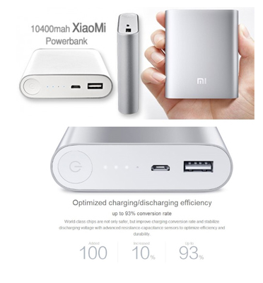 סוללת גיבוי/מטען נייד מקורית של POWER BANK בעוצמה של של 10000mAh תוצרת XiaoMi דגם XIAOMI10000