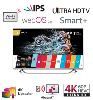 "טלוויזיה 70"" Slim LED Smart TV עם פאנל IPS ברזולוציית 4K Ultra HD תוצרת LG דגם 70UF770Y"