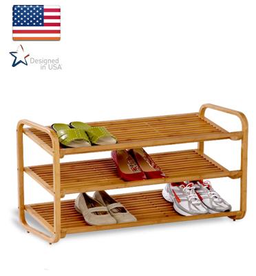 """מתקן נעליים 3 קומות מבמבוק מבית honey can do  תוצרת ארה""""ב דגם sho01599"""