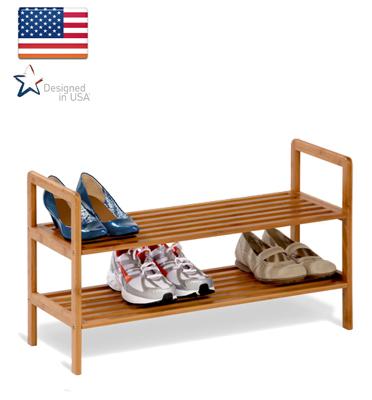 """מתקן נעליים 2 קומות מבמבוק מבית honey can do ארה""""ב דגם SHO-01600"""