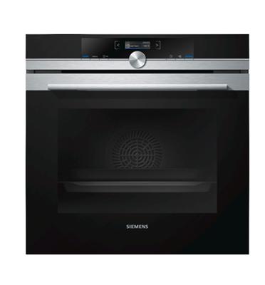 תנור אפיה בנוי סגירת ופתיחת דלת רכה בגימור נירוסטה מסדרת iQ700 סימנס דגם HB633GBS1