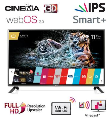 """טלוויזיה חכמה 42"""" LED Smart TV Slim 3D FHD עם Wifi מובנה+ ממשק webOS 2.0 תוצרת LG דגם 42LF650Y"""