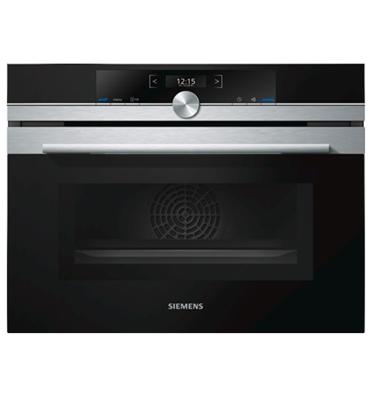 תנור בנוי קומפקטי משולב מיקרוגל בגימור נירוסטה מסדרת iQ700 תוצרת סימנס דגם CM633GBS1