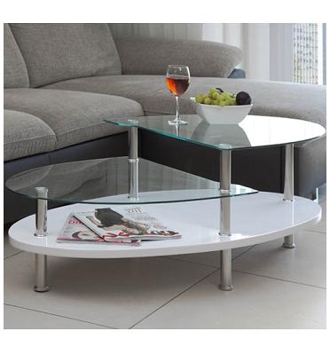 שולחן סלון עם קווים מעוגלים בשילוב של זכוכית, עץ וניקל ו-3 קומות אחסון מבית SIRS דגם ג'וליה