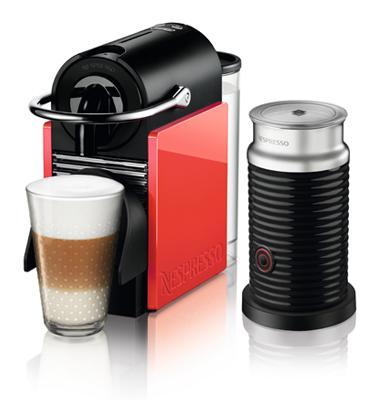 מכונת קפה Nespresso  פיקסי קליפס בצבע לבן וקורל דגם D60 כולל מקציף חלב אירוצ'ינו