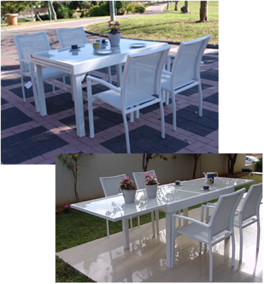 פינת אירוח מפוארת מאלומיניום לגן הכוללת שולחן ניפתח עד 2.70 מטר ו-4 כסאות תואמים דגם 76019