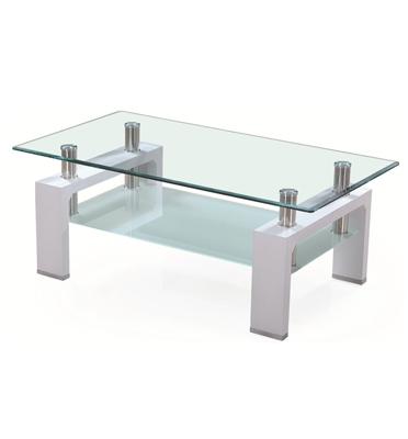שולחן זכוכית לסלון בעיצוב מודרני בשילוב עץ מבית BRADEX דגם #08
