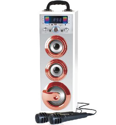 מערכת קריוקי Bluetooth ניידת ונטענת+תאורת דיסקו+2 מיקרופונים!! מבית PureAcoustics דגם MCP-25BT