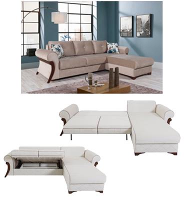 ספה פינתית נפתחת למיטה זוגית מבית DAFNA דגם מירב
