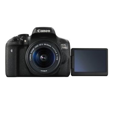 """מצלמה 24.2MP מסך מגע 3"""" וידיאו FULL HD עדשה 18-55mm IS תוצרת CANON דגם EOS 750D"""