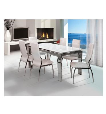 פינת אוכל הכוללת שולחן המעוצב בקו איטלקי עדין + 6 כסאות אוכל בעיצוב תוצרת SIRS דגם TB1012