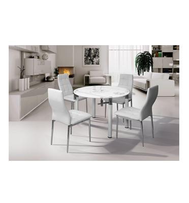 פינת אוכל עגולה משולבת מתכת וזכוכית+4 כסאות תואמים בריפוד דמוי עור תוצרת SIRS דגם 19-06B